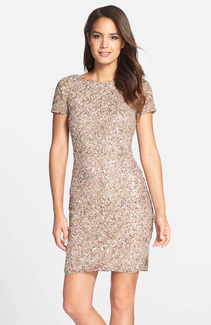 Adrianna papell short sleeve beaded cocktail dress nordstrom for Nordstrom short wedding dresses