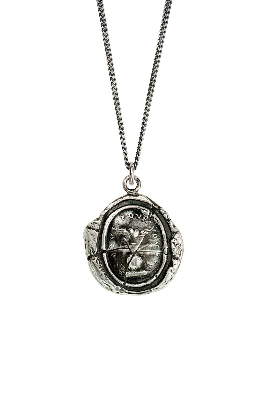 Winged Heart Talisman Necklace,                         Main,                         color, Silver