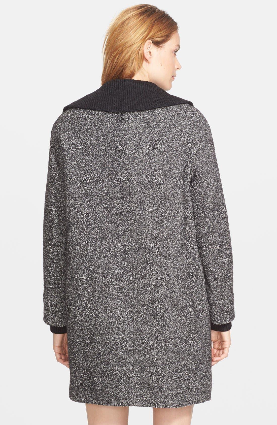 Rib Knit Collar Asymmetrical Coat,                             Alternate thumbnail 2, color,                             Black/ Off White