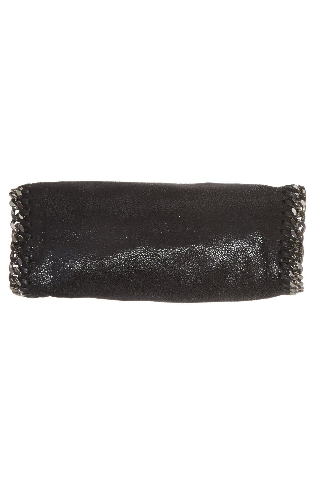 'Tiny Falabella' Faux Leather Crossbody Bag,                             Alternate thumbnail 6, color,                             Black