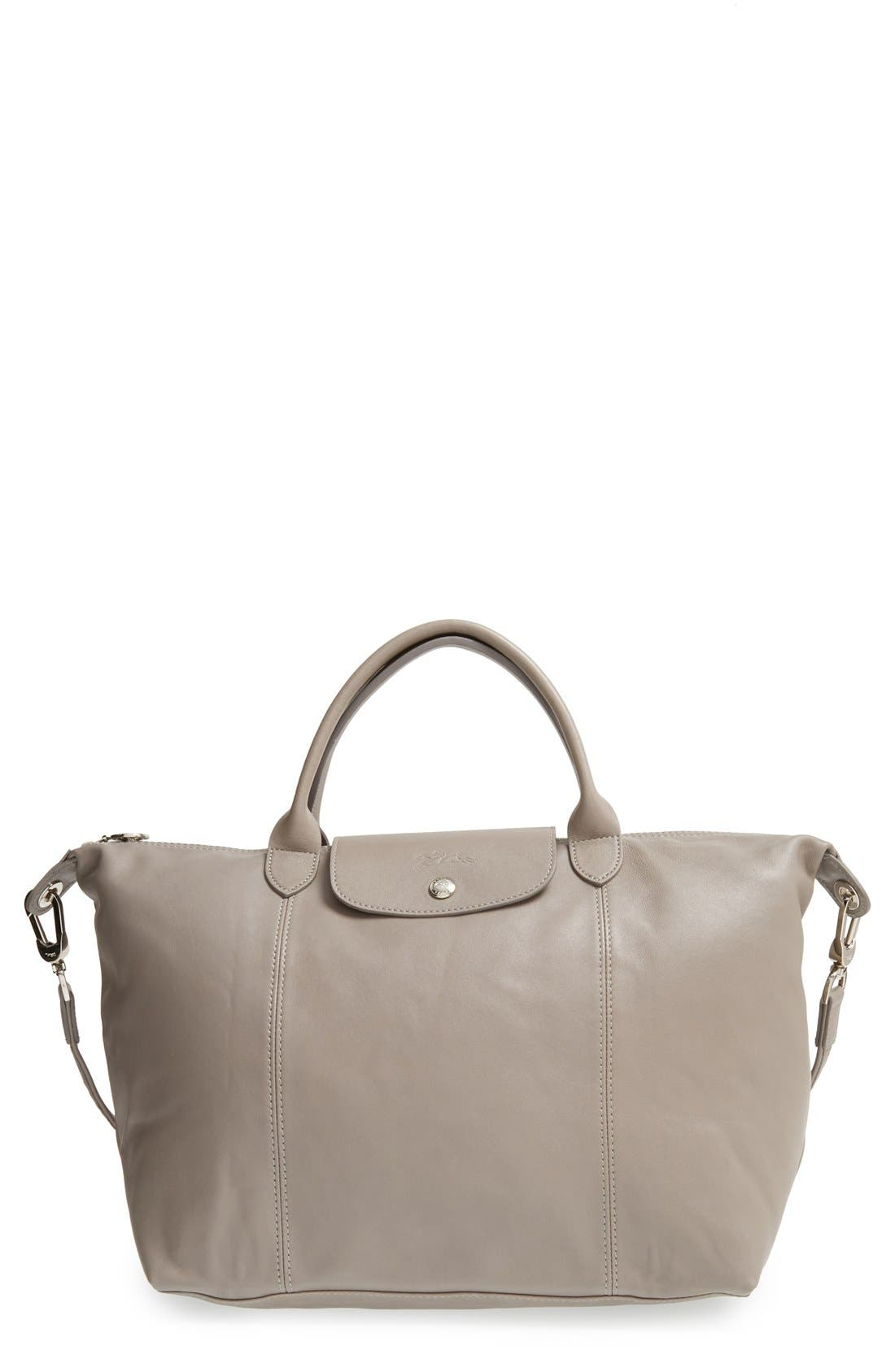 Longchamp Medium 'Le Pliage Cuir' Leather Top Handle Tote