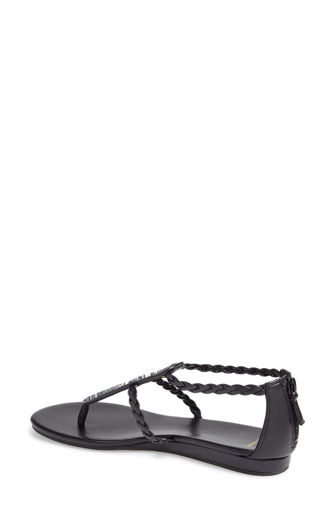 'Abbe' Sandal,                             Alternate thumbnail 2, color,                             Black/ White Leather