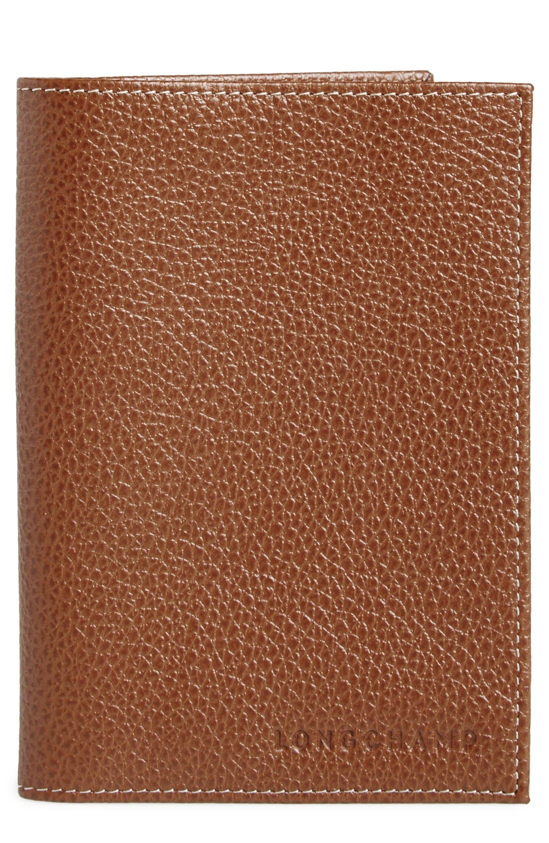 Longchamp Calfskin Leather Passport Case