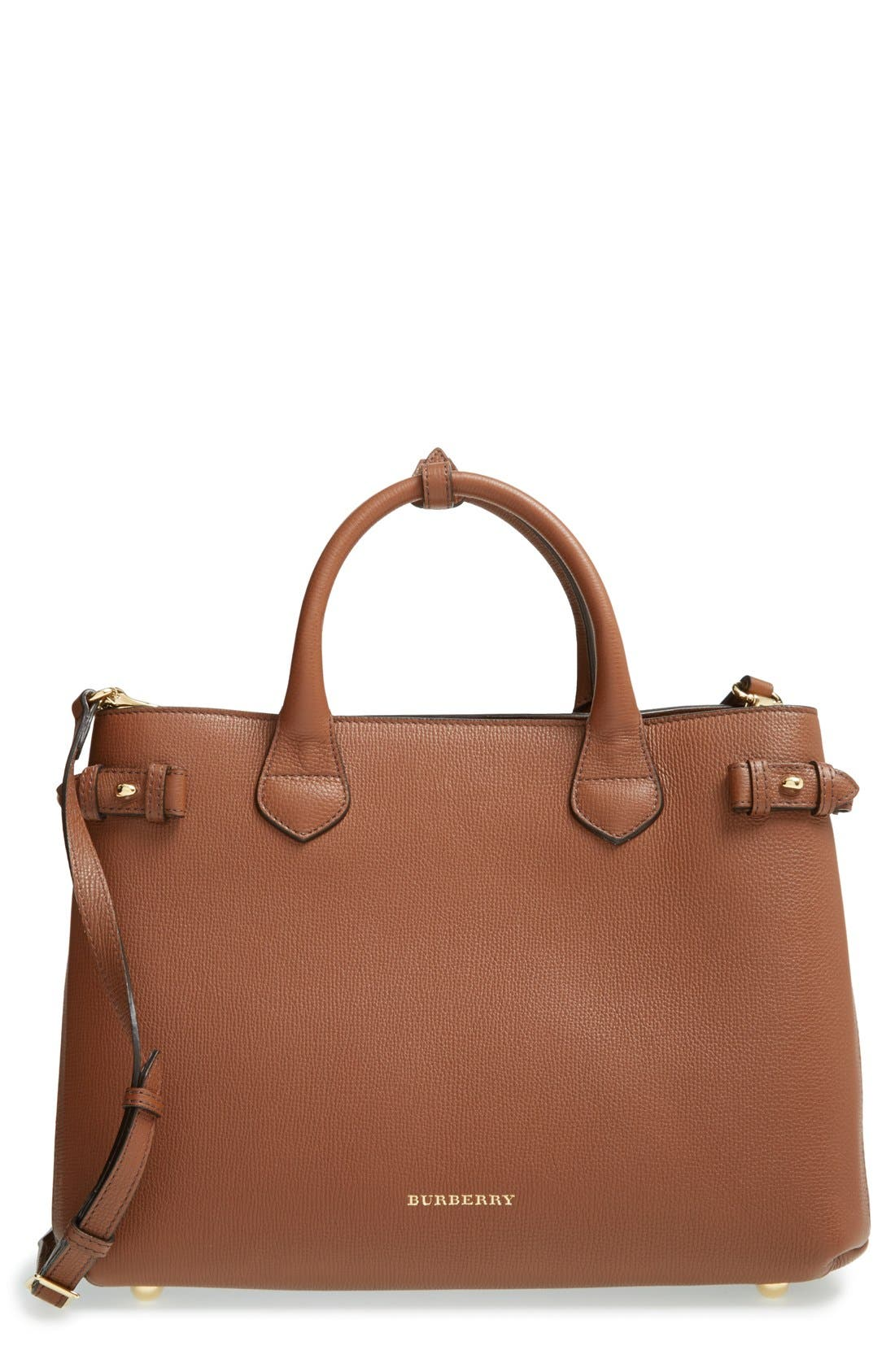 Medium Banner Leather Tote,                         Main,                         color, Tan Gld Hrdwre