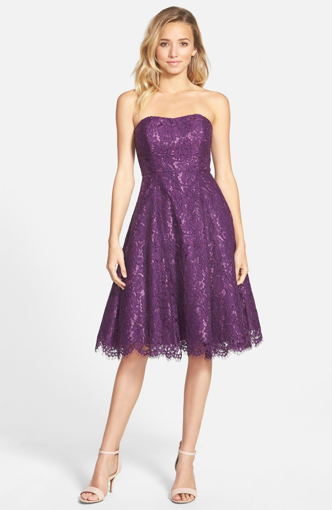 Alternate Image 1 Selected - Soprano Strapless Lace Fit & Flare Midi Dress