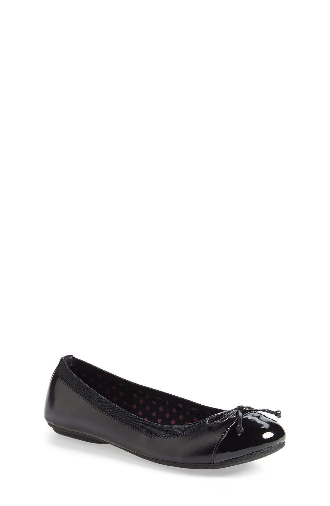 'Elise' Flat,                         Main,                         color, Black Faux Leather
