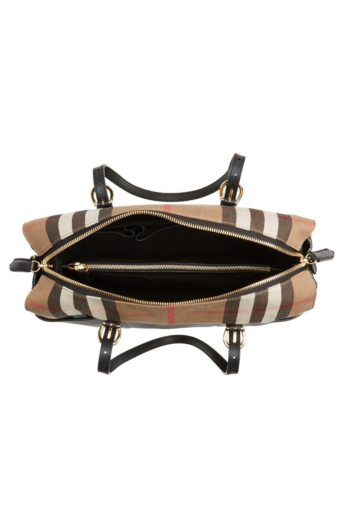 'Mason - House Check' Diaper Bag,                             Alternate thumbnail 4, color,                             Black