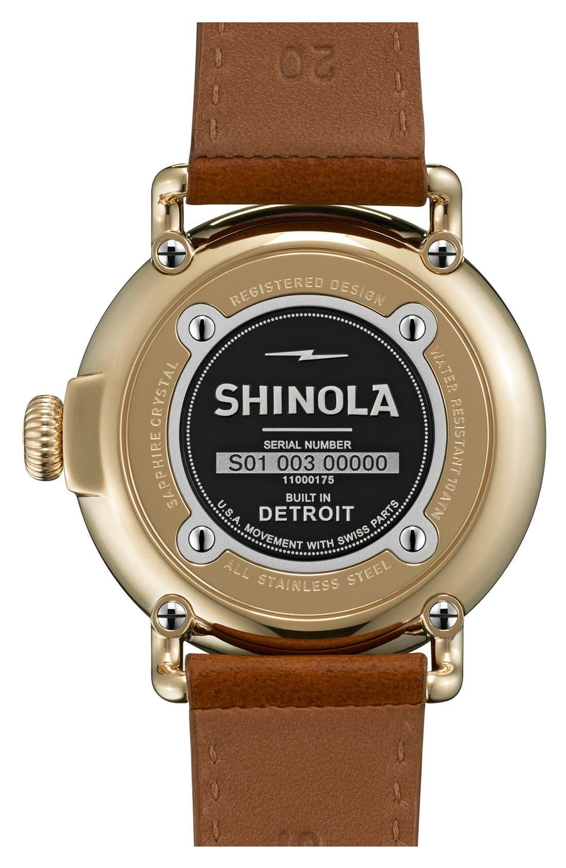 'The Runwell Chrono' Leather Strap Watch, 41mm,                             Alternate thumbnail 2, color,                             Tan/ Midnight Blue