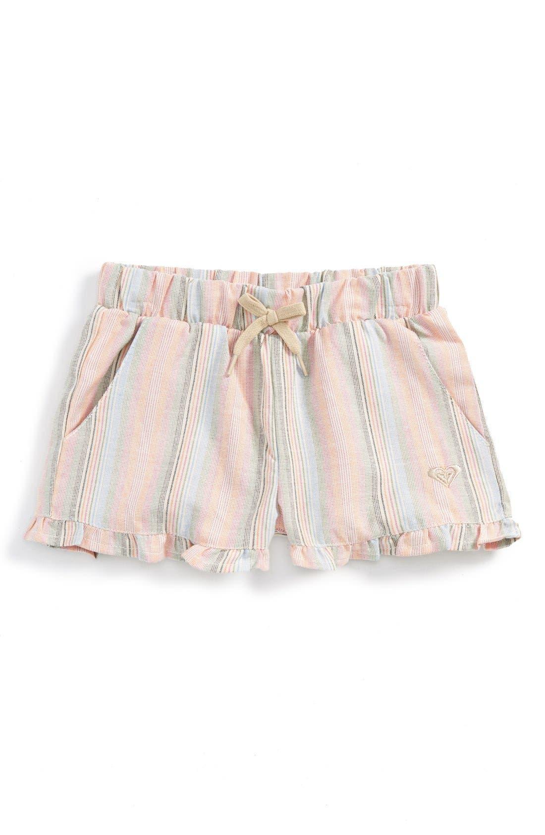 Main Image - Roxy 'Ruffled Feathers' Stripe Shorts (Baby Girls)
