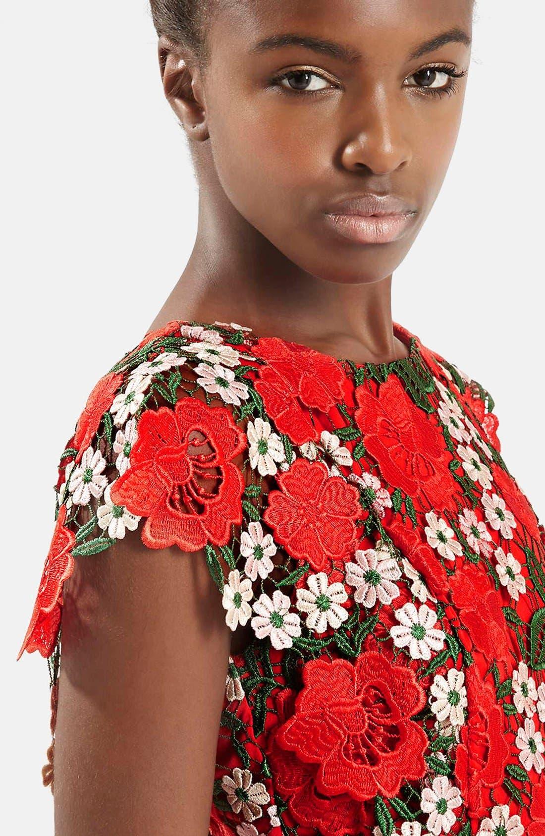 Alternate Image 4  - Topshop Floral Lace A-Line Dress