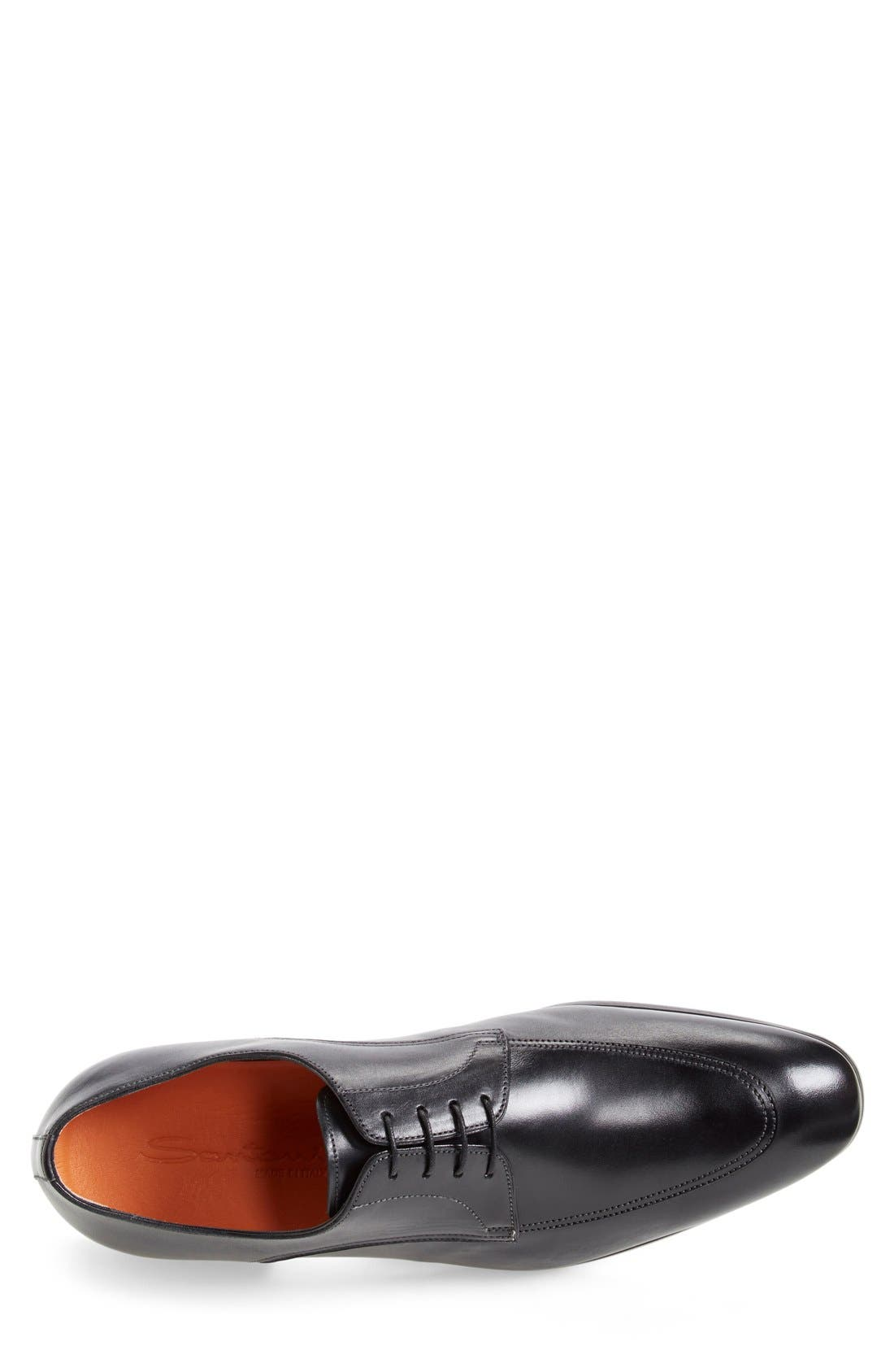 'Atwood' Apron Toe Derby,                             Alternate thumbnail 4, color,                             Black Leather