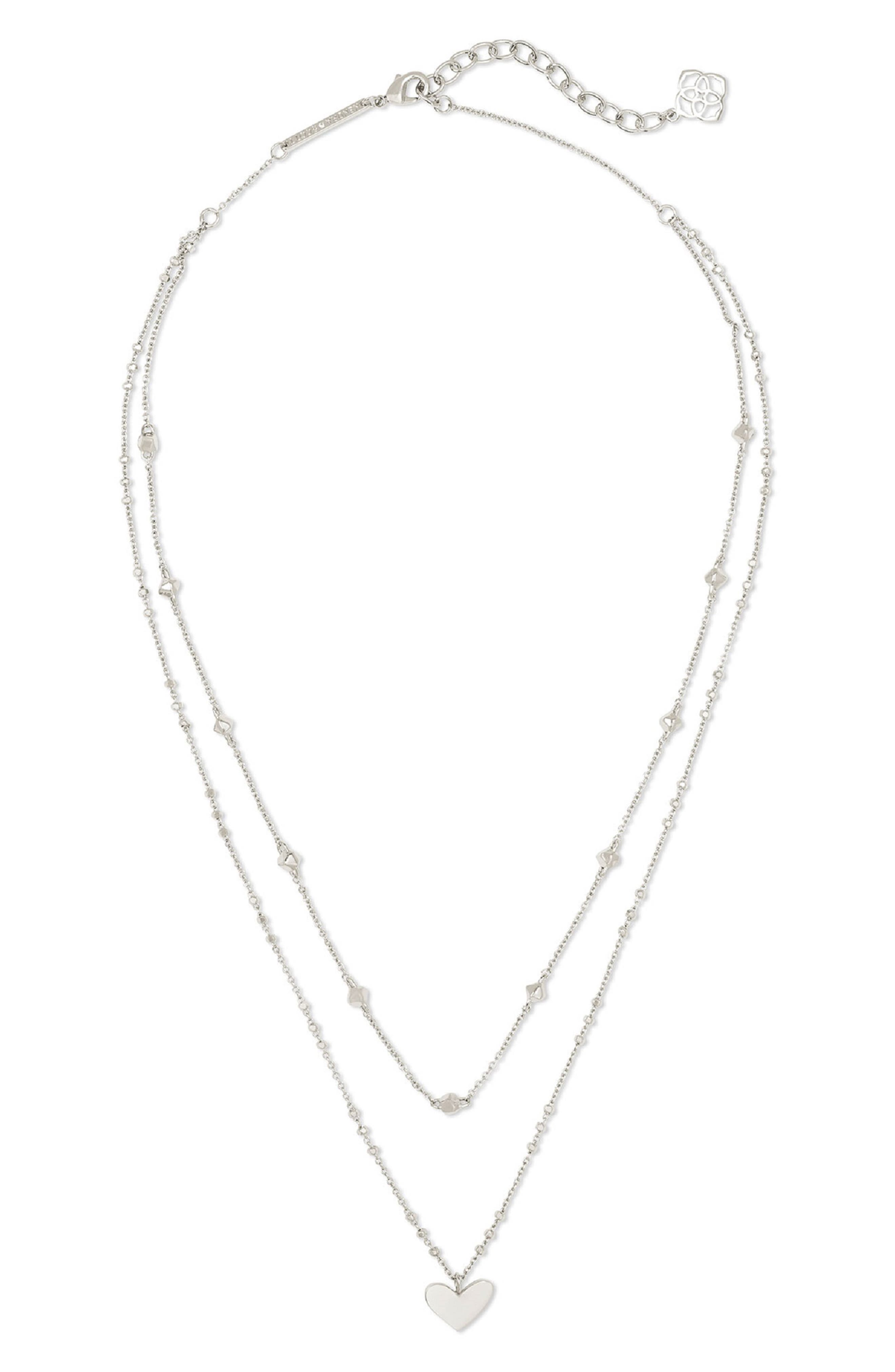 50/% off SPECIAL Silver Layered Chain Necklace Silver Plated 3 Strand Layered Bib Necklace 18 19 20 inch