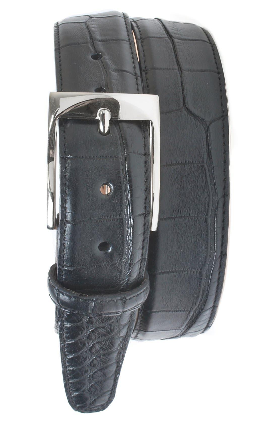 MARTIN DINGMAN Wellington Matte Finish Genuine Alligator Leather Belt