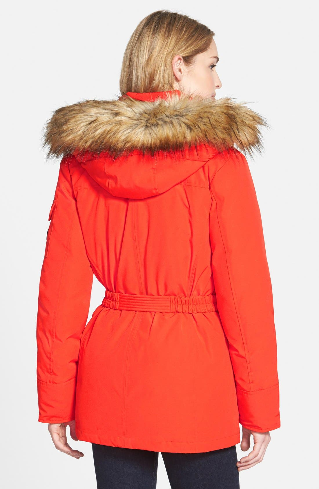 Belted Down & Feather Fill Parka with Detachable Faux Fur Trim Hood,                             Alternate thumbnail 2, color,                             Orange