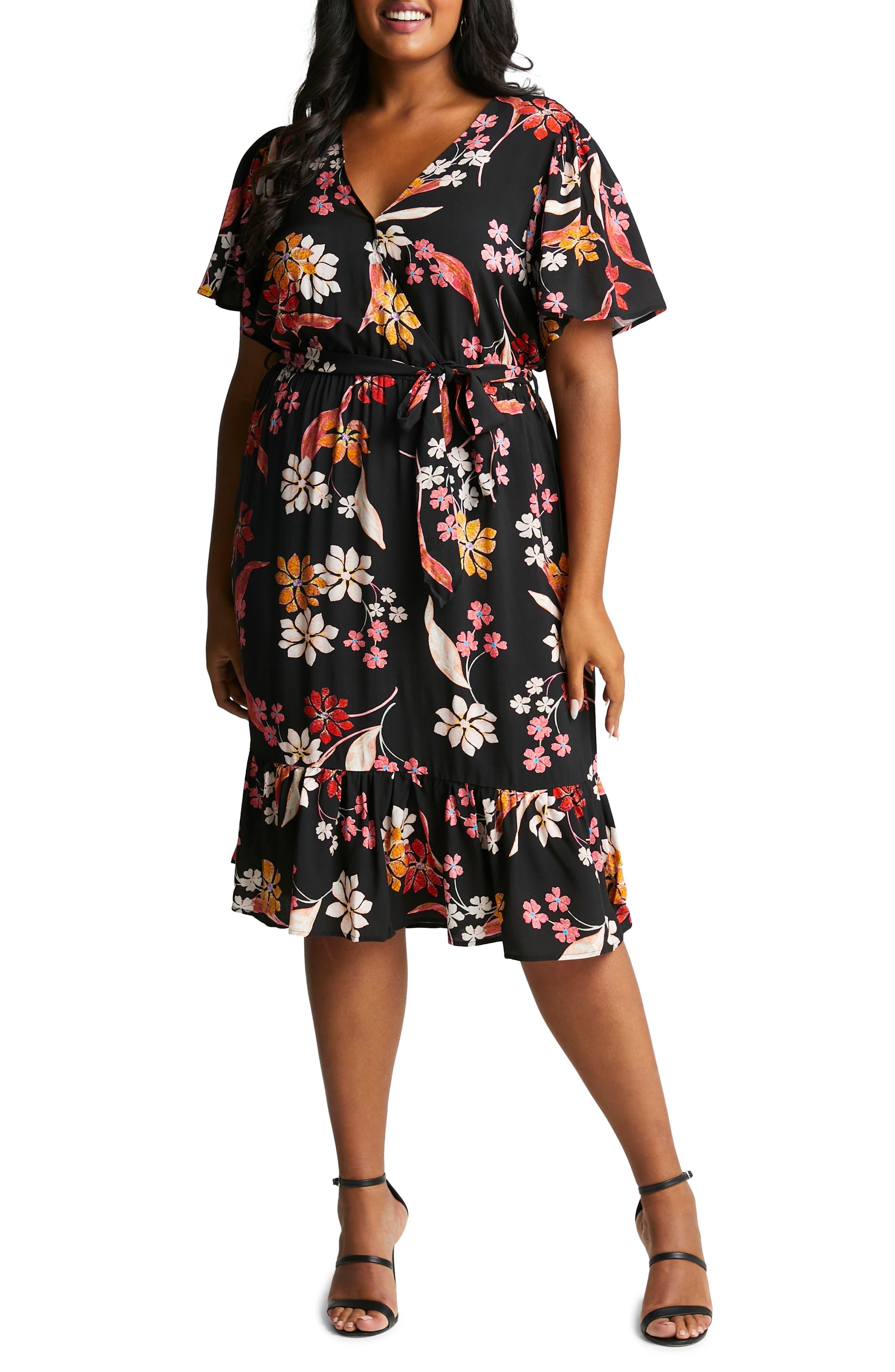 Women Plus Size Red Black Wrap Floral Open Front Fit Flare Maxi Dress  1X