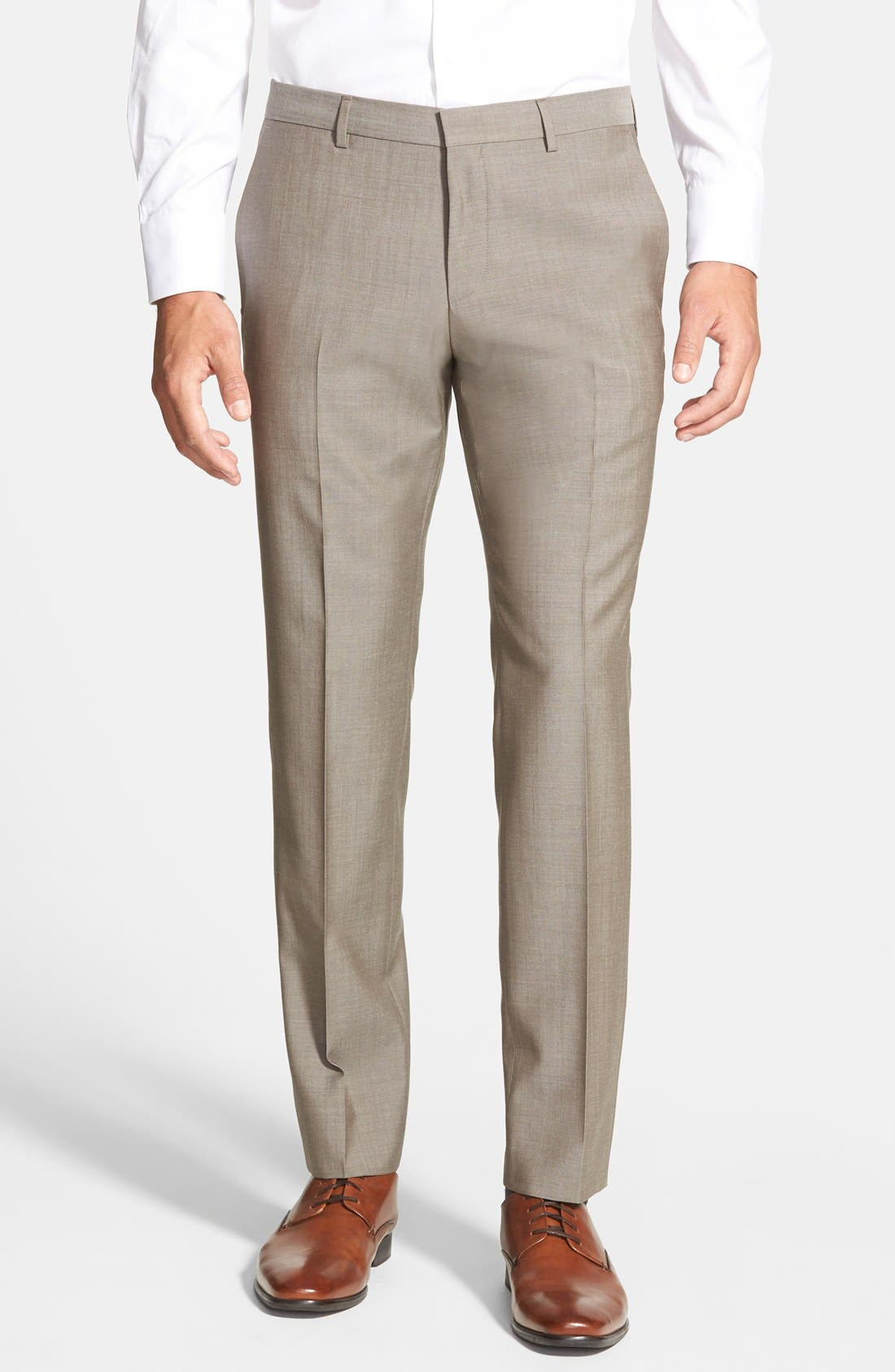 BOSS 'Genesis' Flat Front Wool Trousers