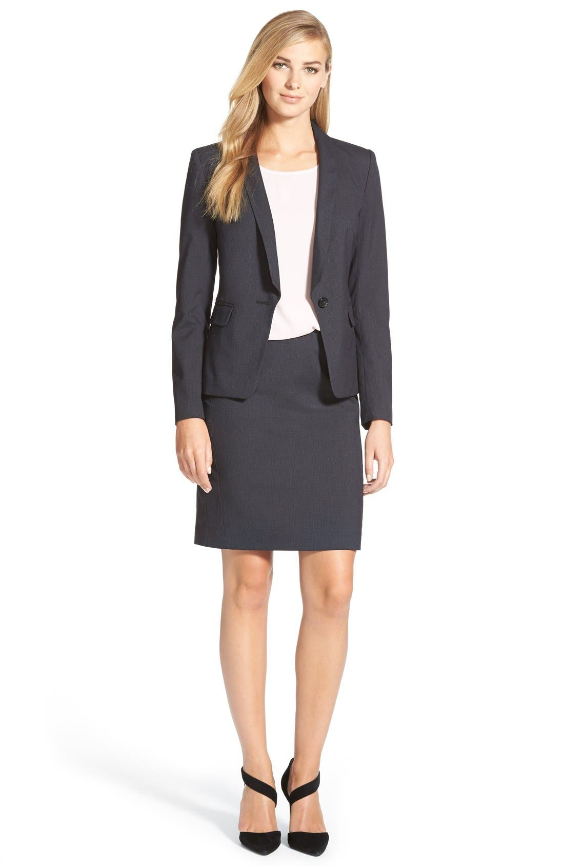 Alternate Image 2  - Halogen® Crosshatch Suit Jacket (Regular & Petite)