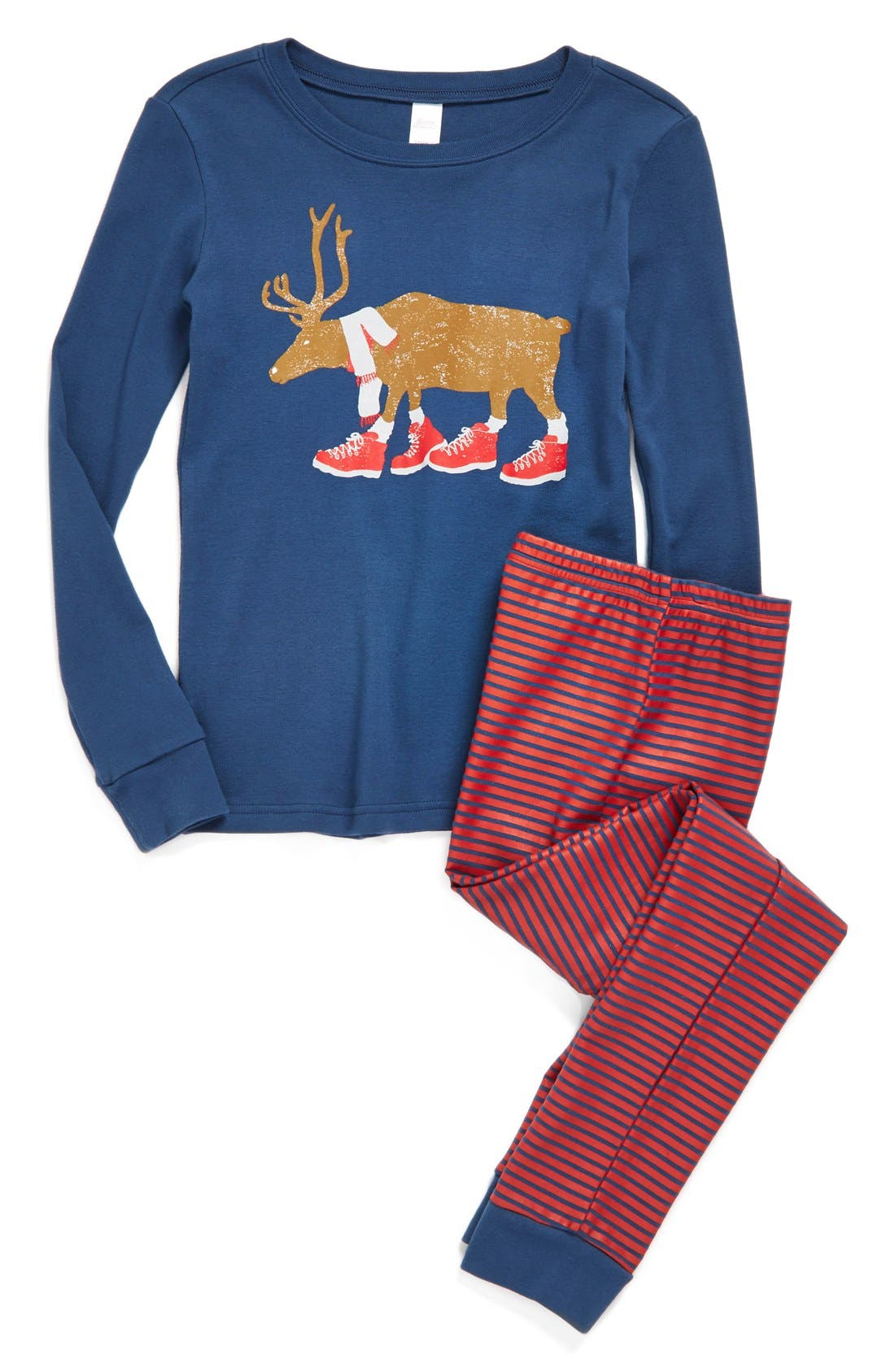 Fitted Two-Piece Pajamas,                         Main,                         color, Navy Denim Reindeer