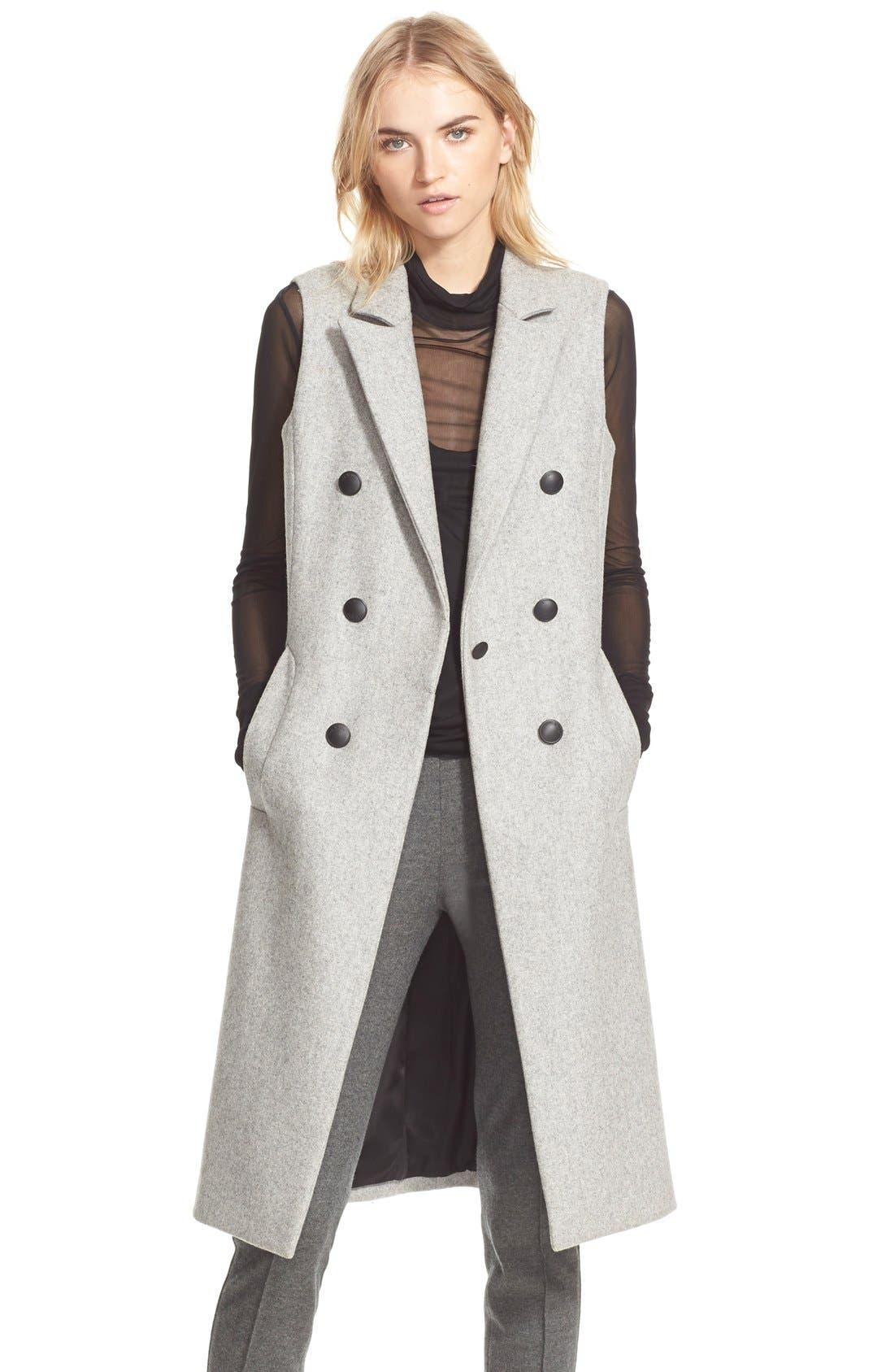 Main Image - rag & bone 'Faye' Long Double Breasted Wool Blend Vest