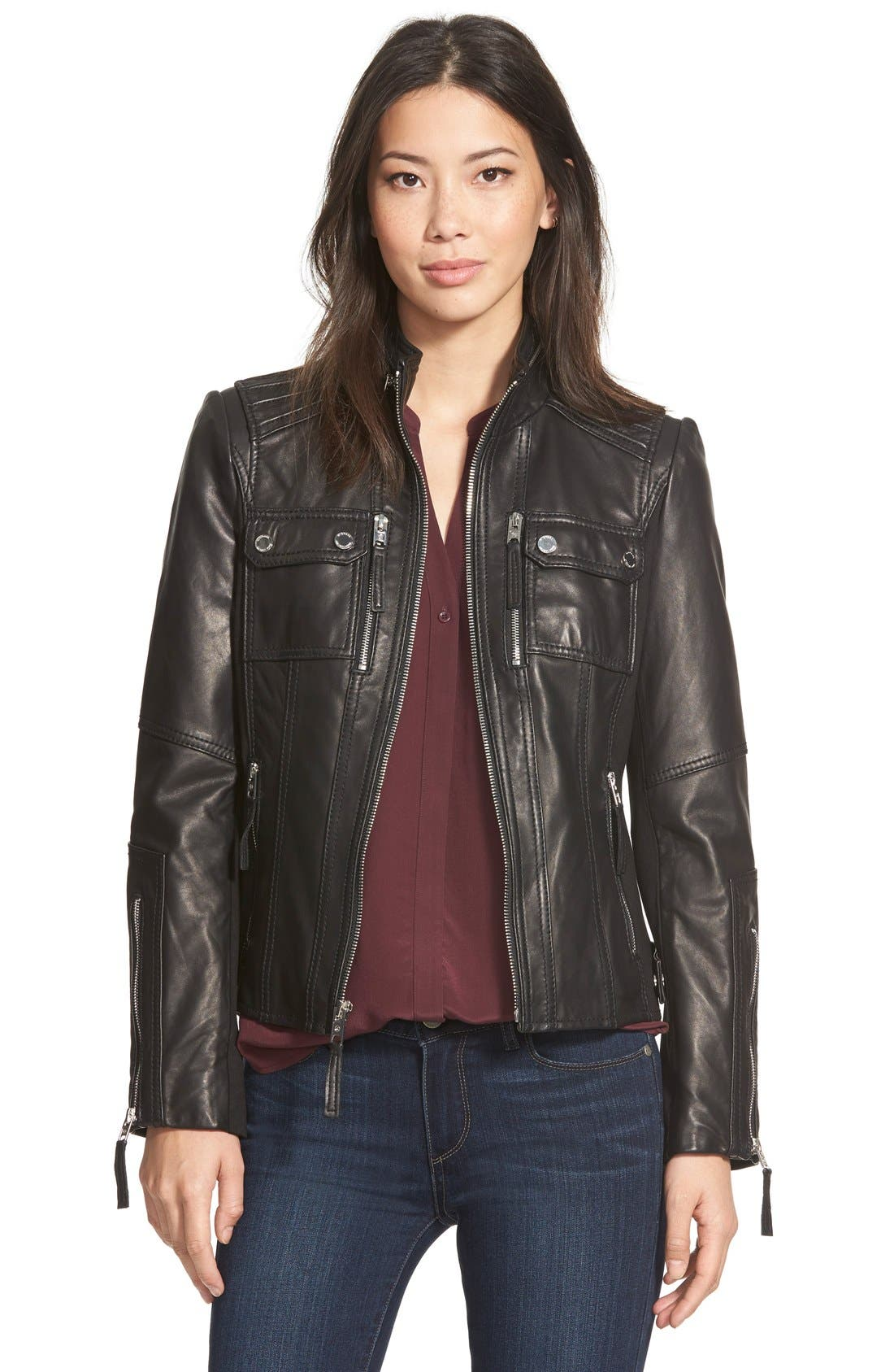 Main Image - MICHAEL Michael Kors Patch Pocket Leather Jacket (Regular &  Petite)