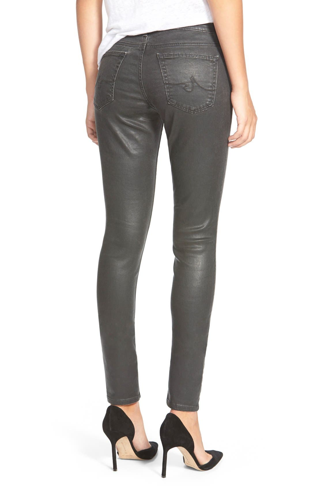 'The Legging' Coated Ankle Jeans,                             Alternate thumbnail 2, color,                             Vintage Leatherette Black