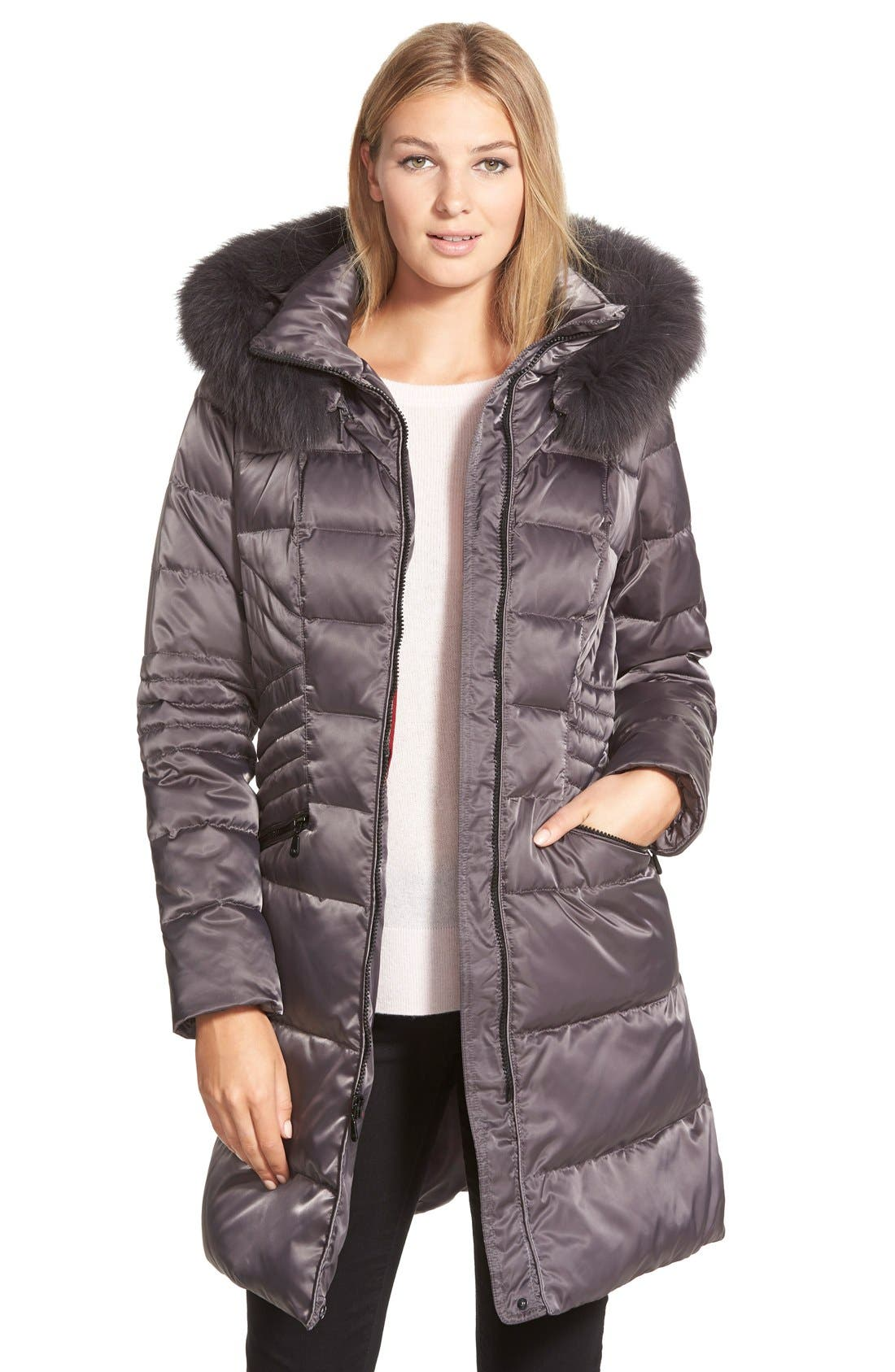 Alternate Image 1 Selected - 1 Madison Down & Feather Fill Coat with Genuine Fox Fur
