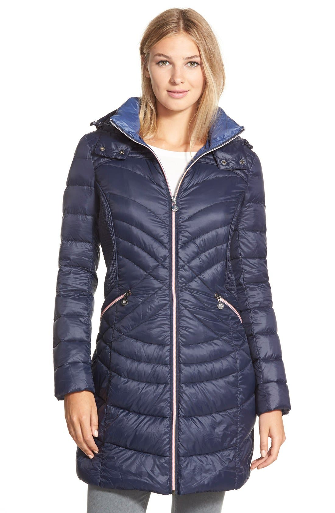 Main Image - Bernardo Hooded Down & PrimaLoft® Fill Coat (Regular & Petite)