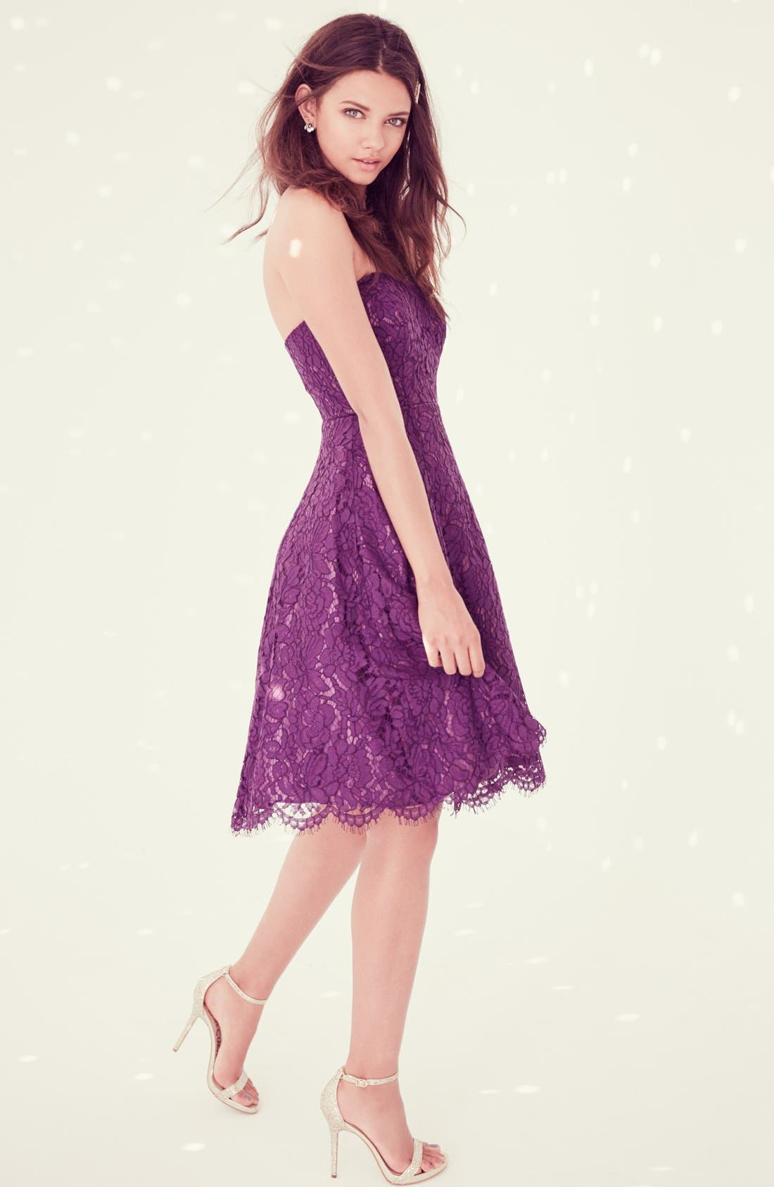 Alternate Image 5  - Soprano Strapless Lace Fit & Flare Midi Dress