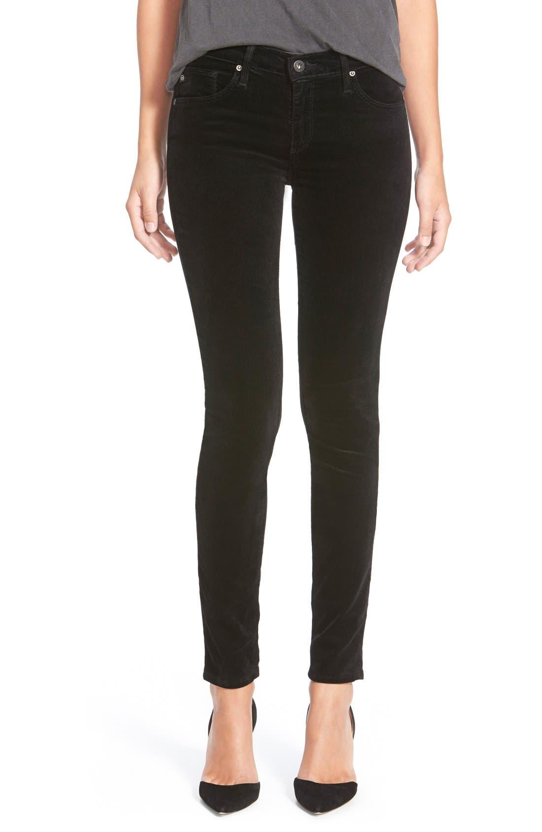 Super Skinny Velvet Leggings,                             Main thumbnail 1, color,                             Black