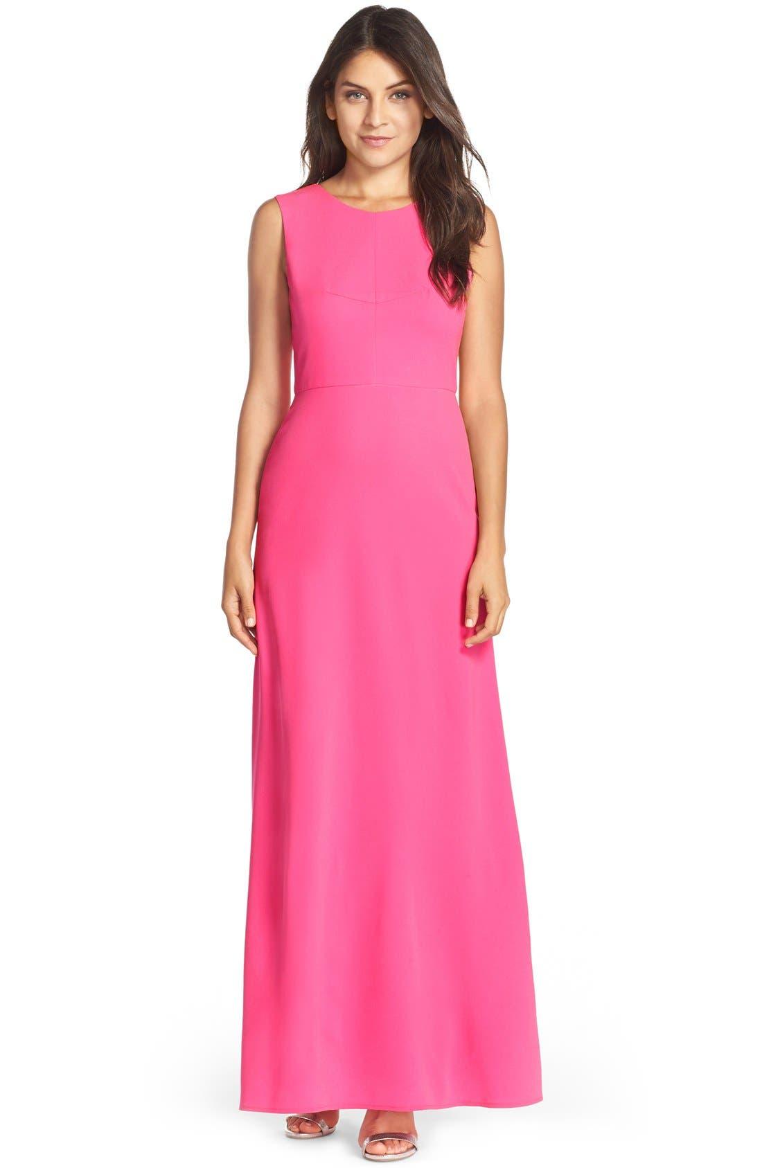 Main Image - BCBGMAXAZRIA Colorblock Crepe Gown