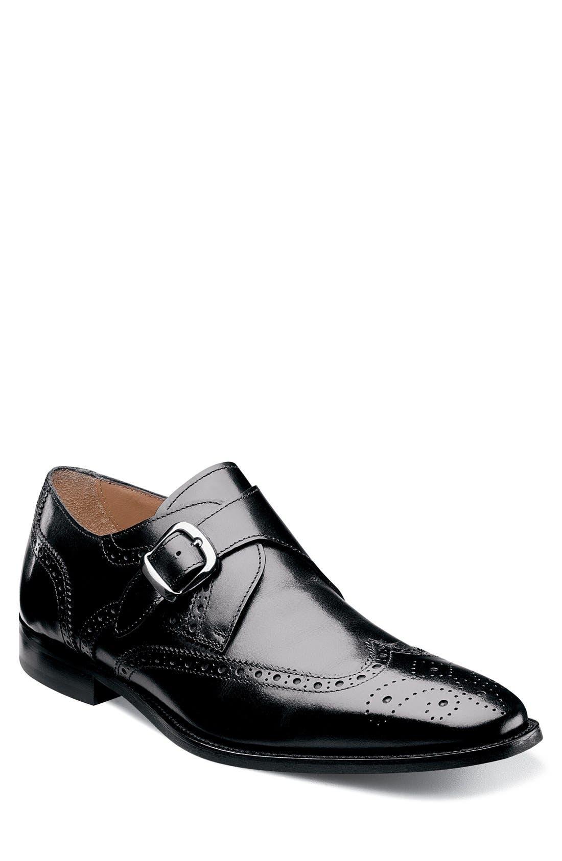'Sabato' Wingtip Monk Strap Shoe,                             Main thumbnail 1, color,                             Black