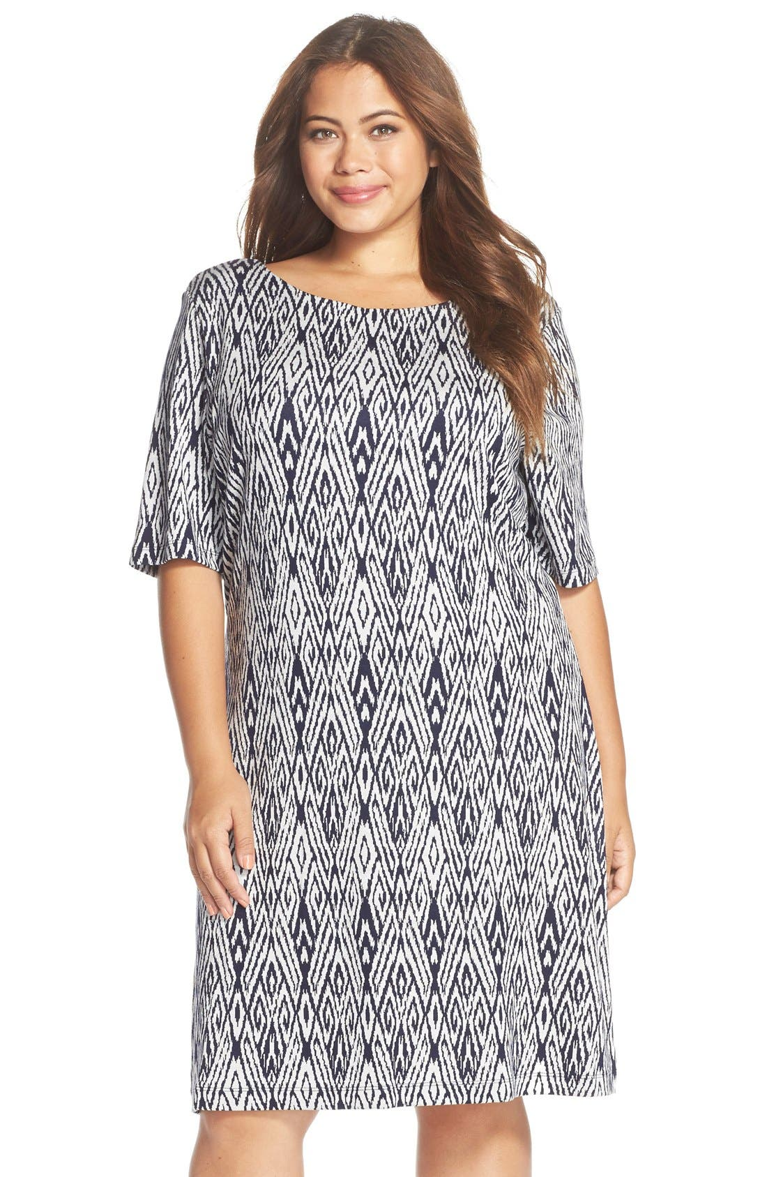 Main Image - Tart 'Falcon' Print French Terry Scoop Back Dress (Plus Size)