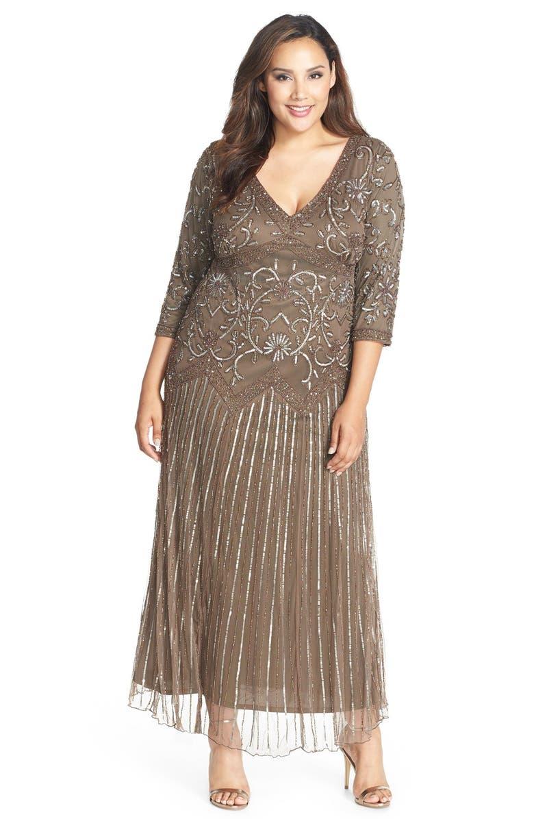 Pisarro Nights Embellished V-Neck Maxi Dress (Plus Size ...