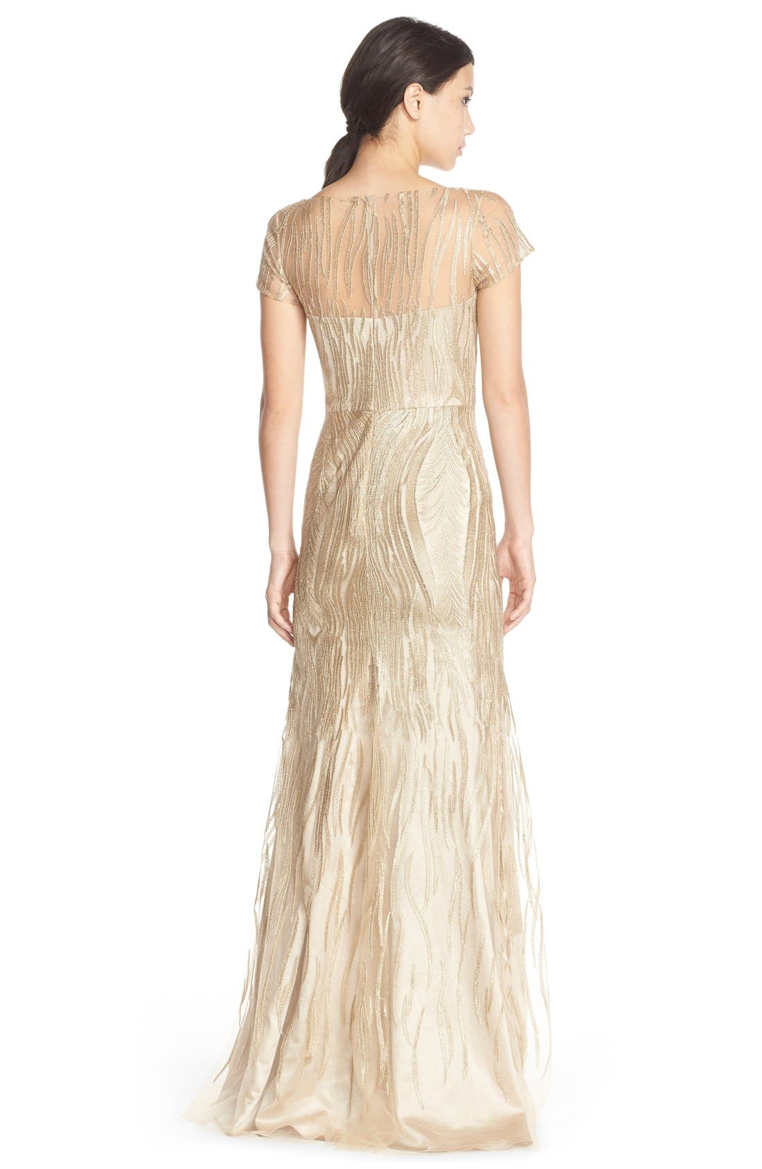 Alternate Image 2  - David Meister Embroidered Tulle Fit & Flare Gown