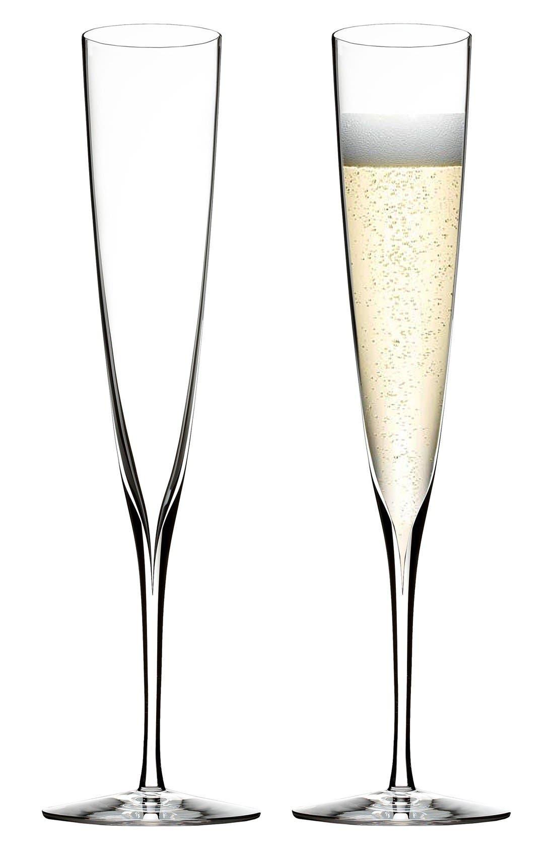 Alternate Image 2  - Waterford 'Elegance' Fine Crystal Champagne Trumpet Flutes (Set of 2)