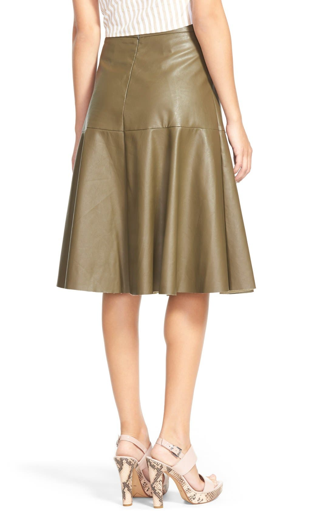 Faux Leather Midi Skirt,                             Alternate thumbnail 2, color,                             Olive
