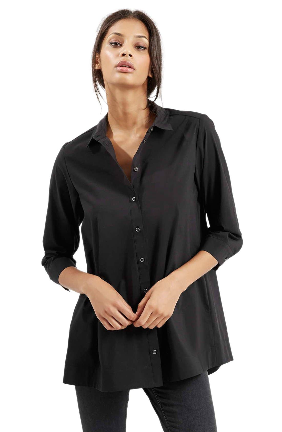 Alternate Image 1 Selected - Topshop Oversize Poplin Shirt