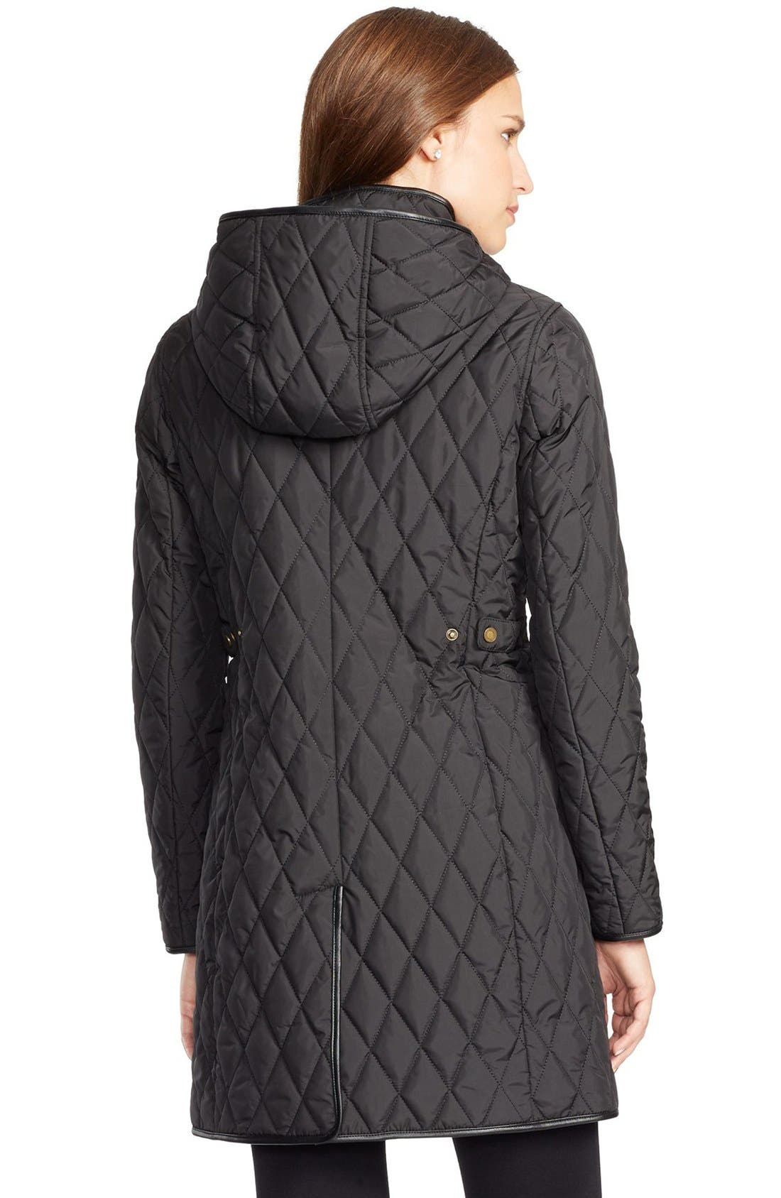 Alternate Image 2  - Lauren Ralph Lauren Faux Leather Trim Quilted Coat
