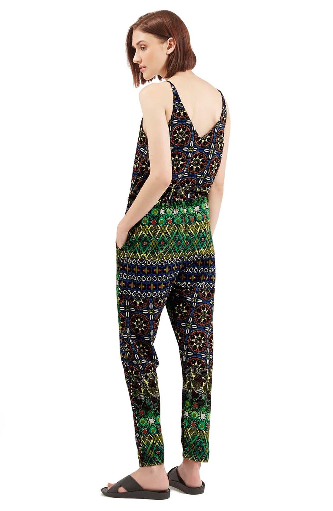 Alternate Image 2  - Topshop Print V-Neck Jumpsuit