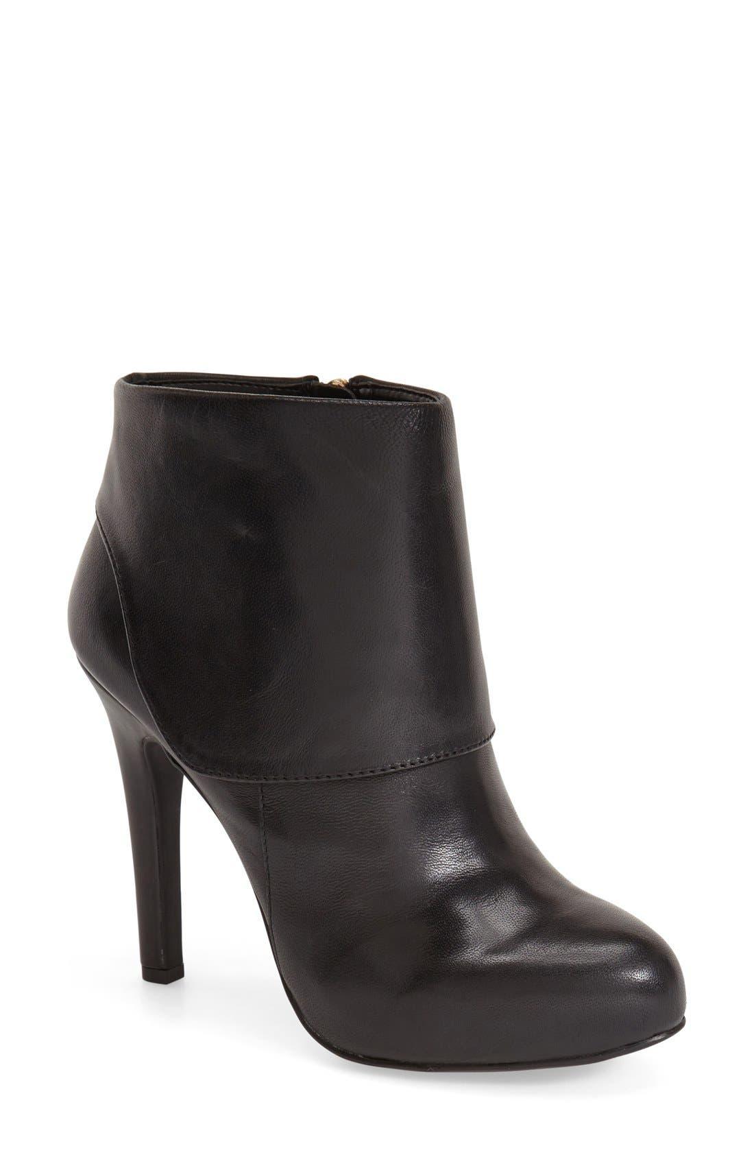 'Addey' Platform Bootie,                         Main,                         color, Black Leather