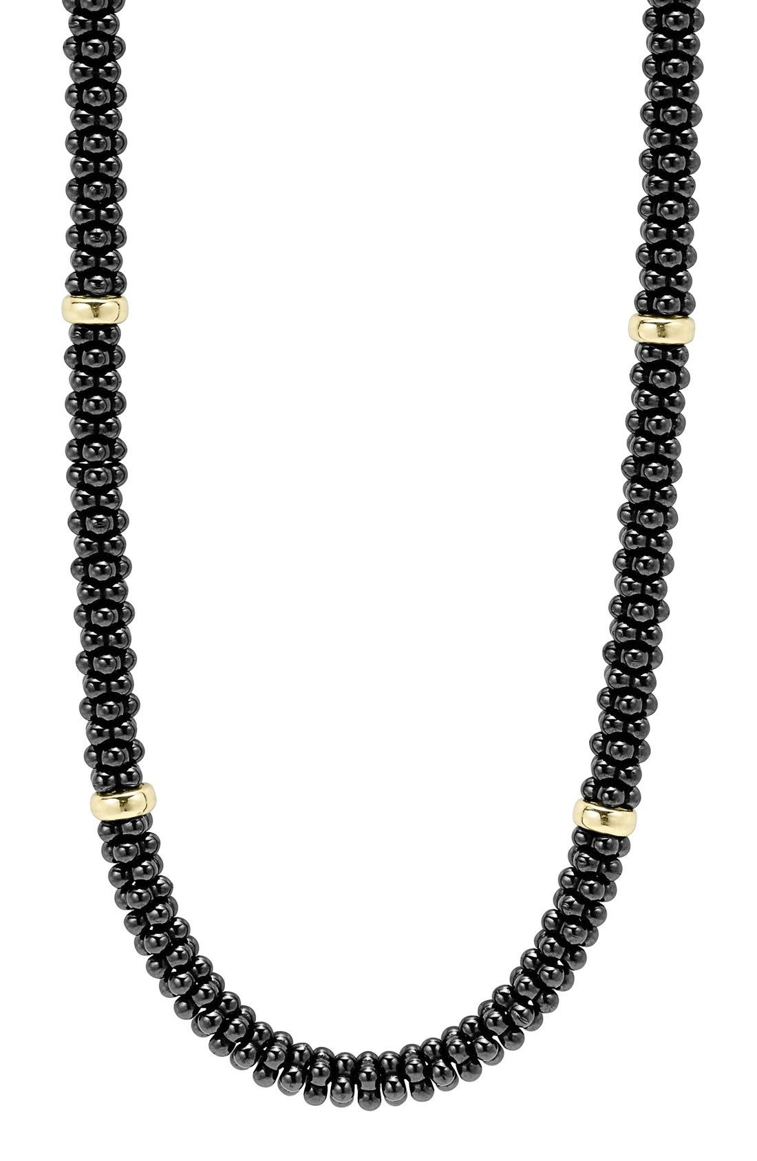 'Black Caviar' Station Rope Necklace,                             Alternate thumbnail 2, color,                             Black Caviar/ Gold