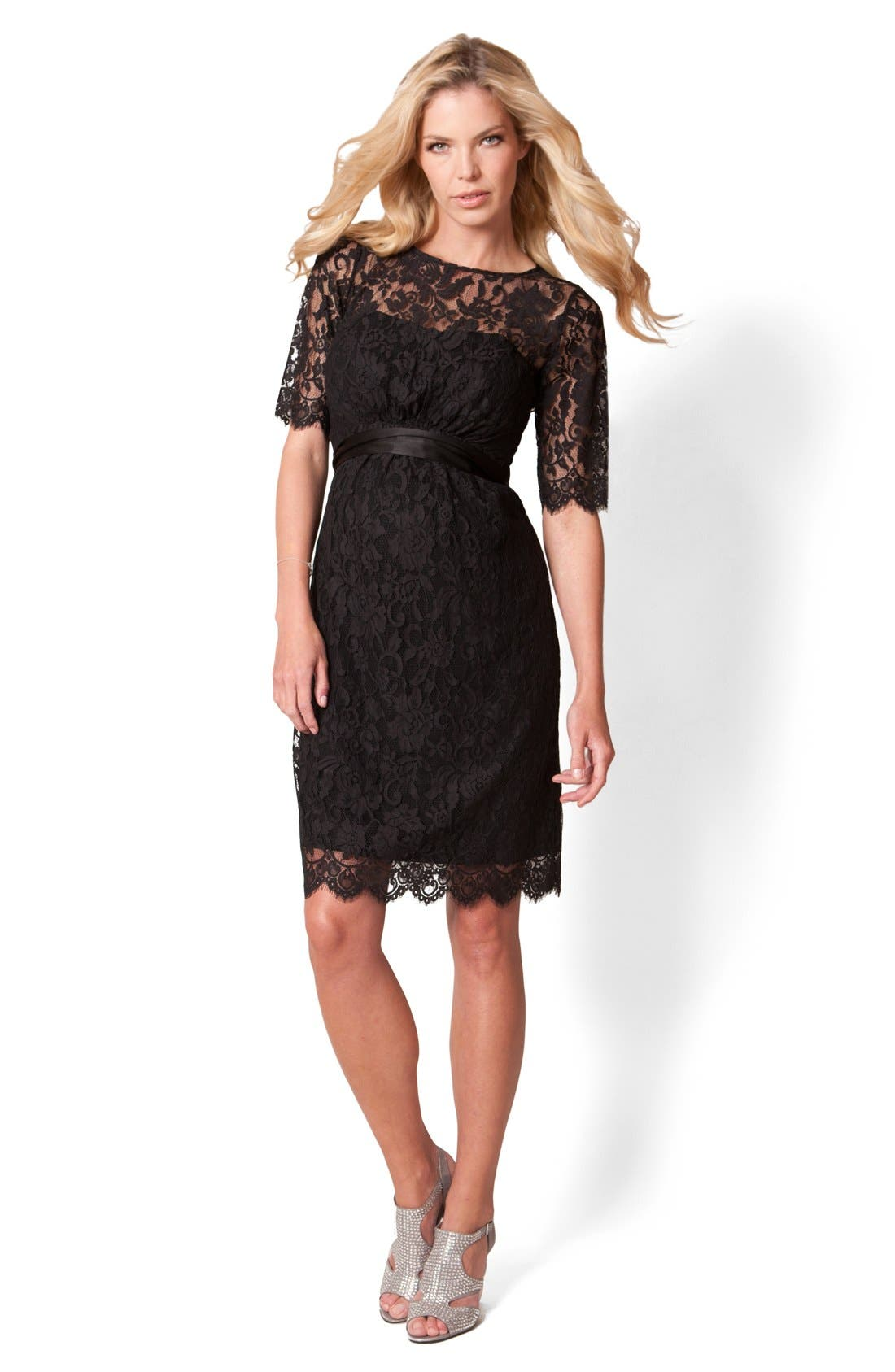 'Ingrid Luxe' Lace Maternity Dress,                             Alternate thumbnail 2, color,                             Black