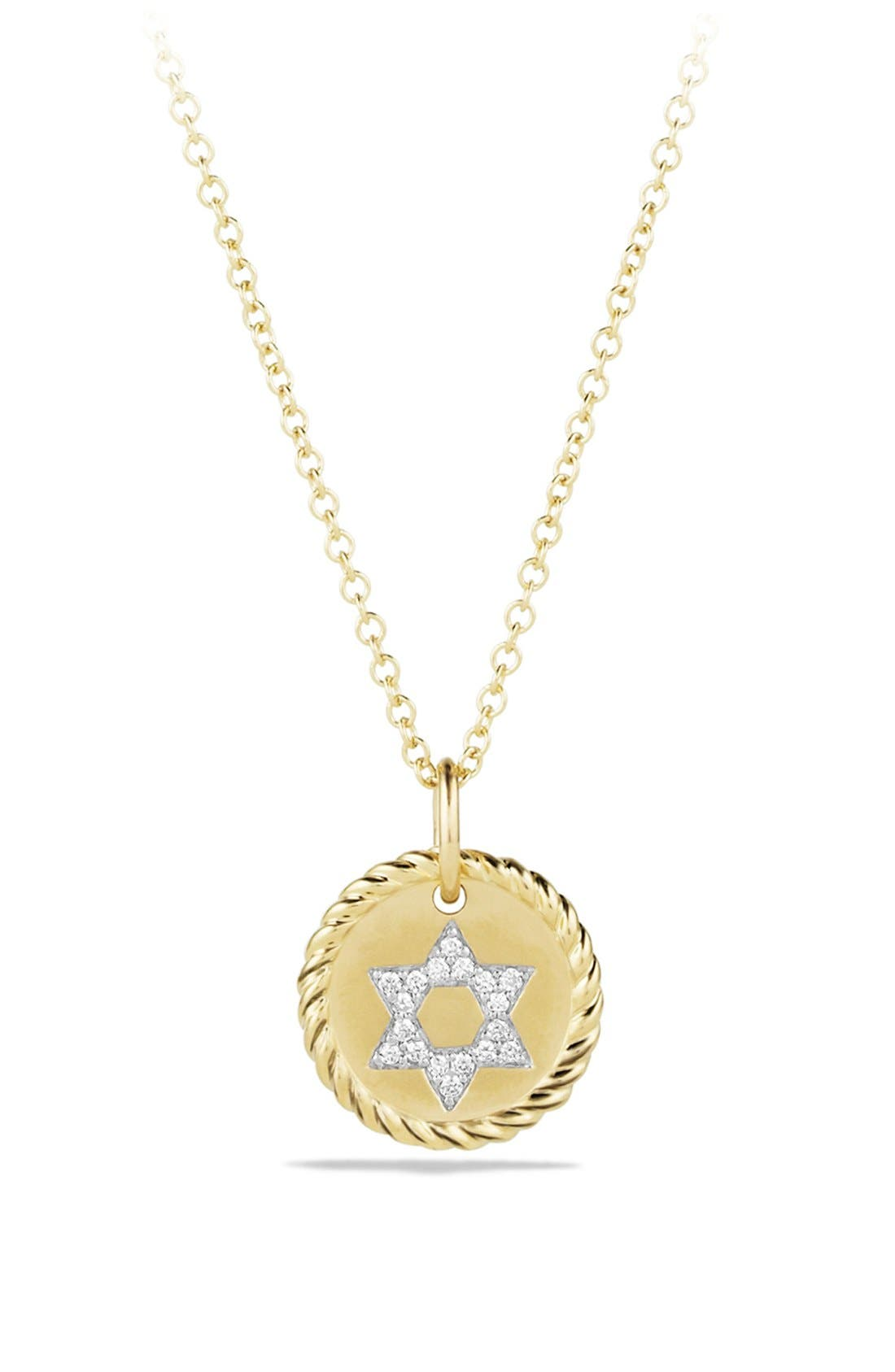 DAVID YURMAN Cable Collectibles Star of David Charm Necklace with Diamonds in Gold