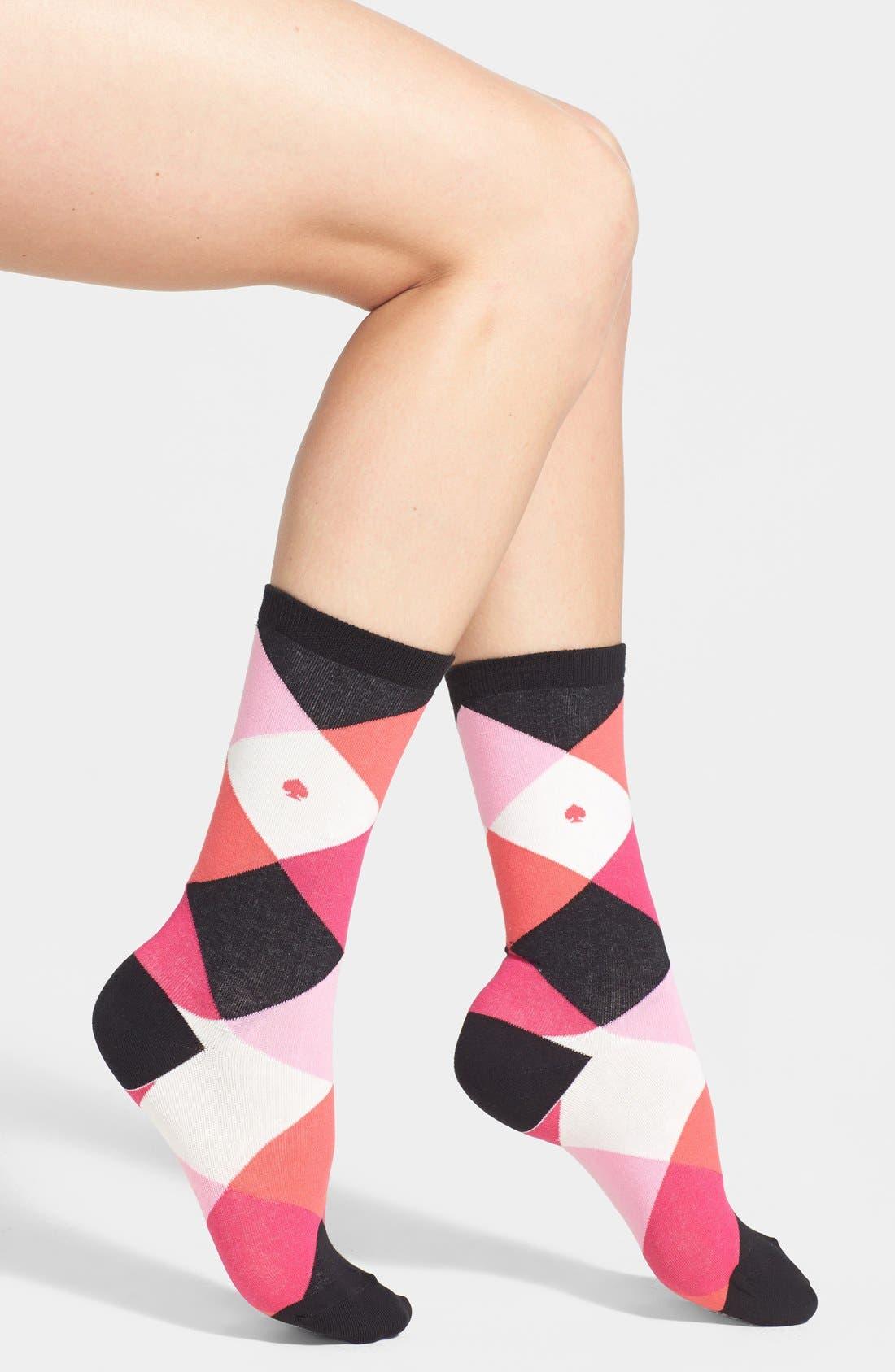 Main Image - kate spade new york 'harlequin' crew socks (2 for $18)