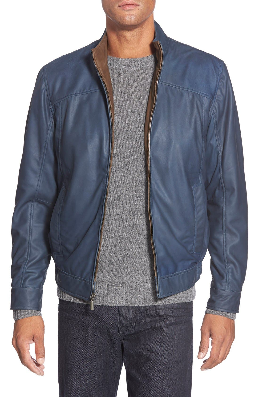 Leather Bomber Jacket,                         Main,                         color, Navy