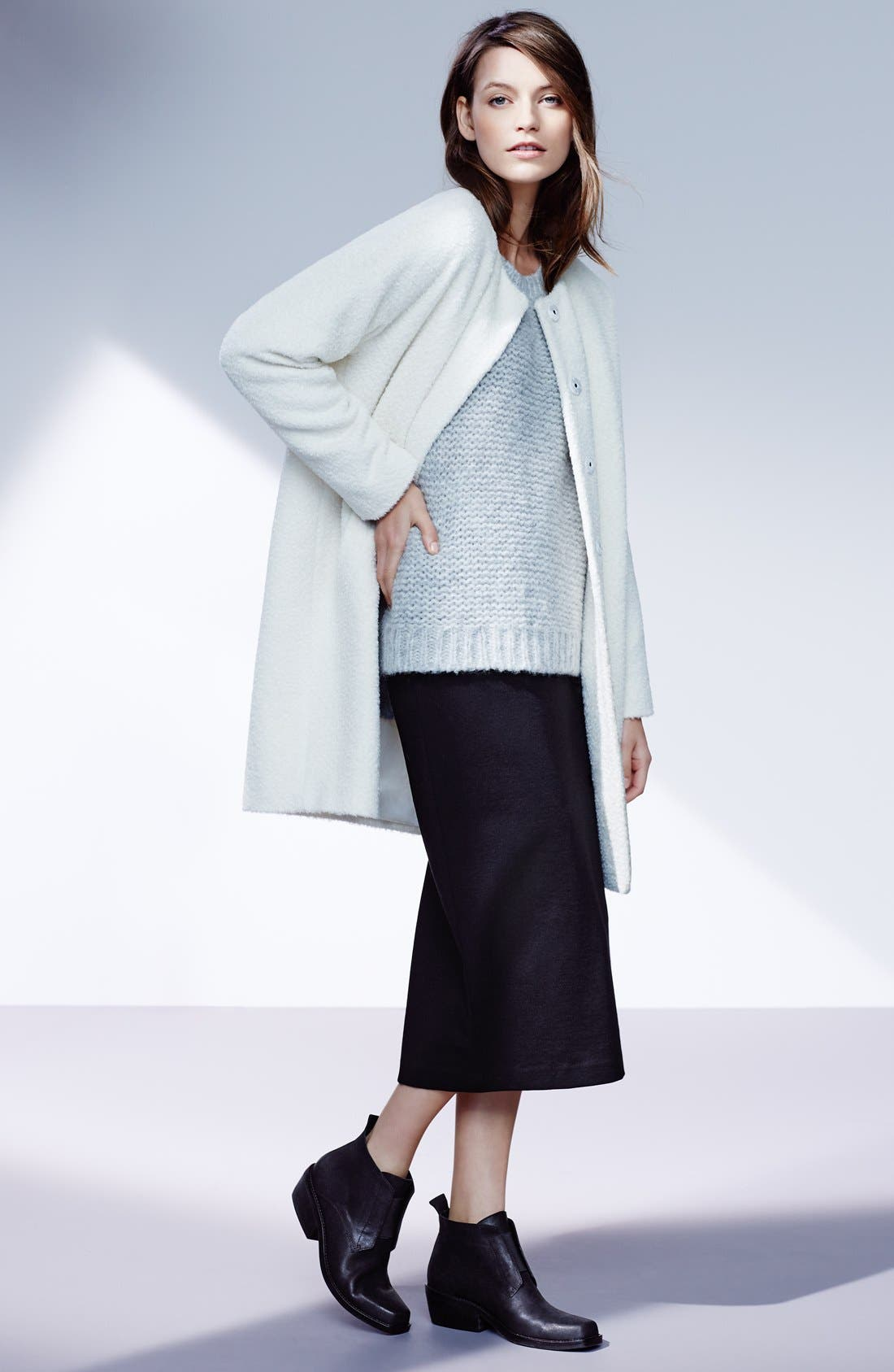 Wool & Alpaca Blend Collarless Coat,                             Alternate thumbnail 4, color,