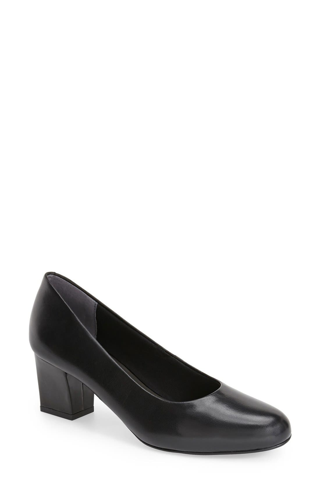 'Candela' Pump,                         Main,                         color, Black Leather