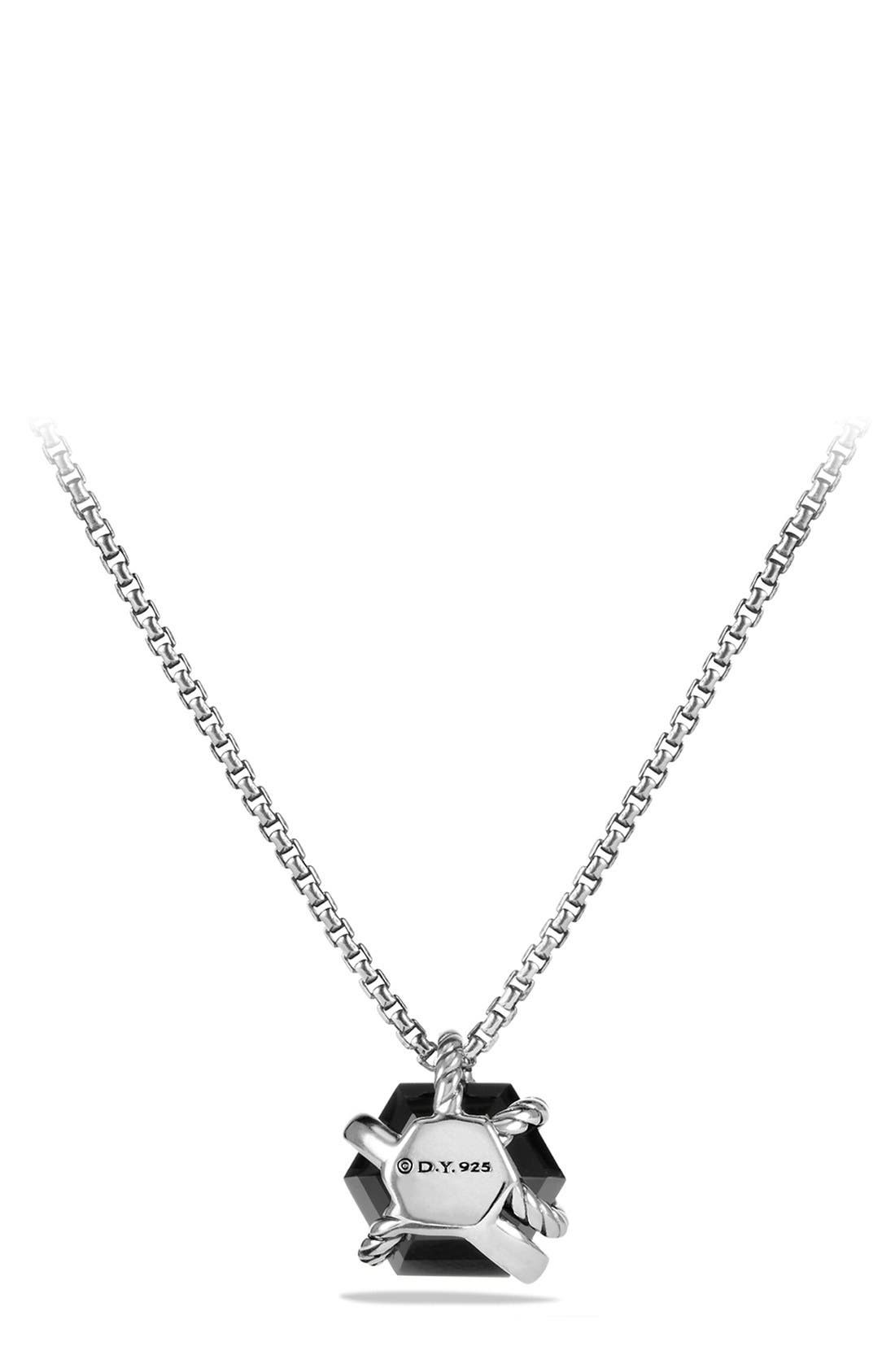 'Cable Wrap' Pendant Necklace with Diamonds,                             Alternate thumbnail 3, color,                             Black Onyx