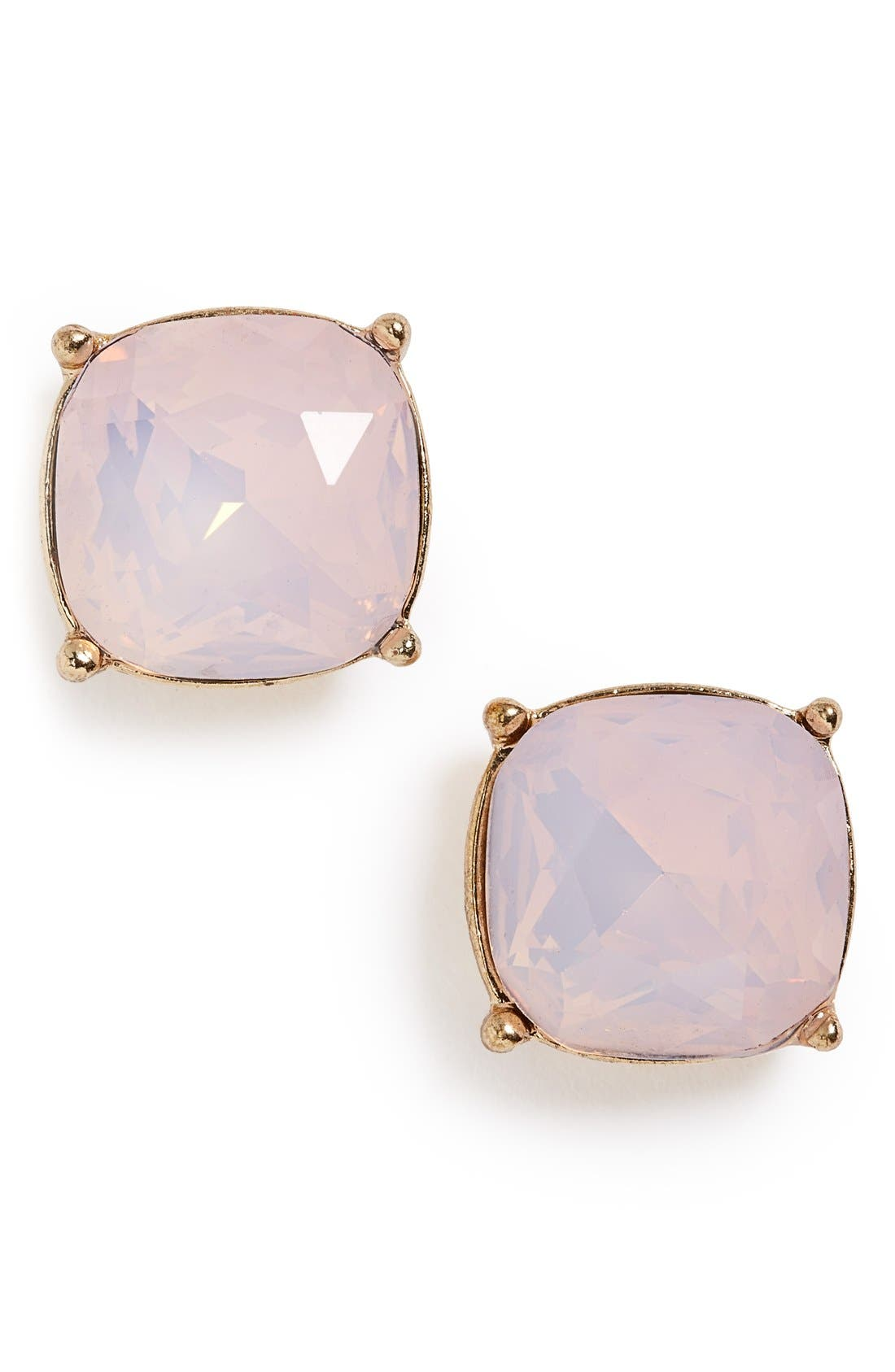 Faceted Stone Stud Earrings,                             Main thumbnail 1, color,                             Opal Pink