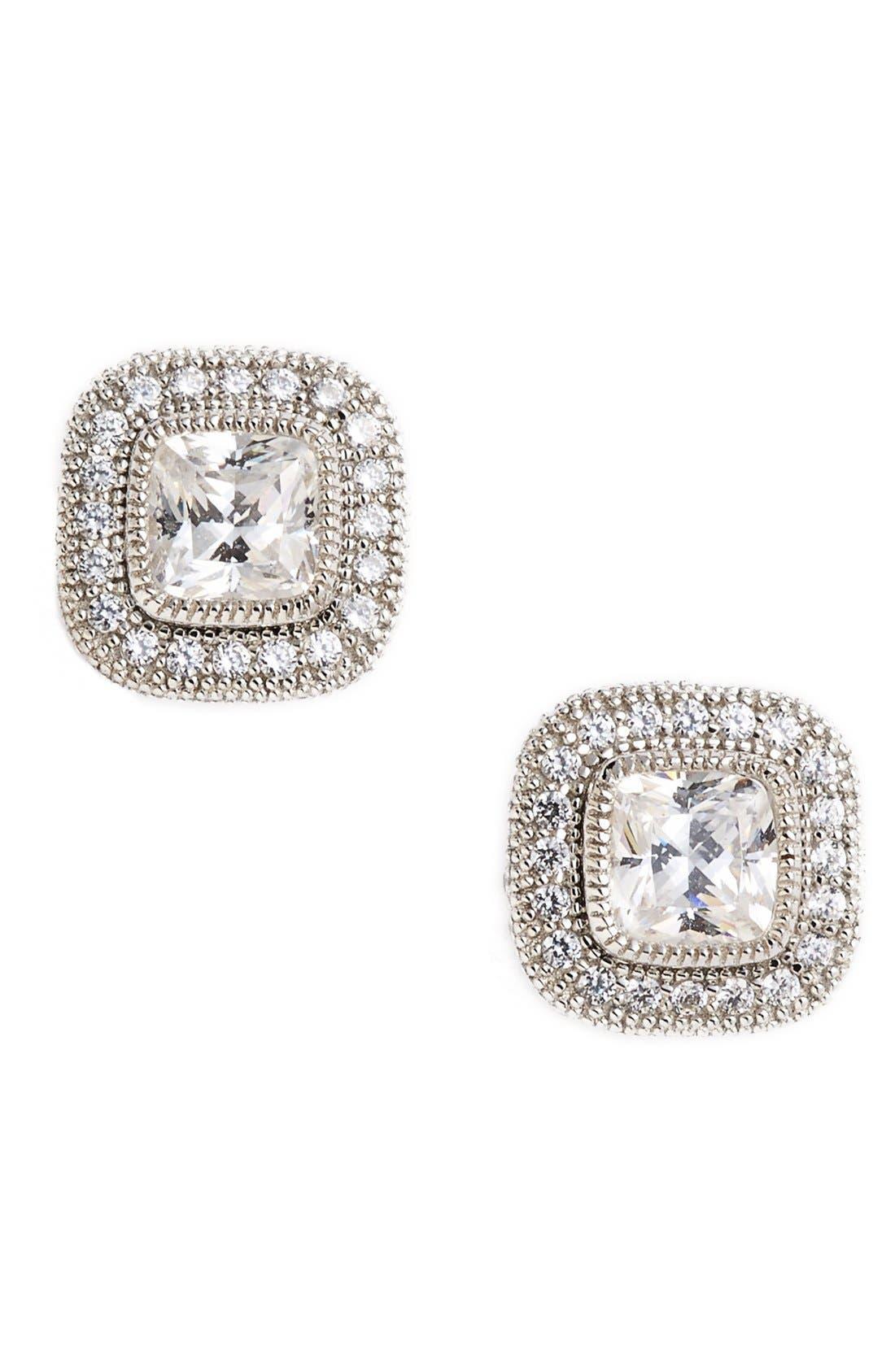 'Lassaire' Square Stud Earrings,                         Main,                         color, Silver/ Clear